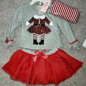 NWT Little Lass outfit Shirt, skirt & stockings 2T